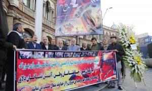 تصاویر/همدردی و ادای احترام اتحادیه لوازم ایمنی وآتش نشانی تهران به جانباختان آتش نشان در حادثه پلاسکو