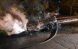حادثه آتش گرفتن خودروی پراید در خیابان فردوس