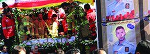 تصاویر/ حضور مردمی در مراسم بدرقه شهدای آتش نشان