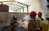 یک مصدوم درحادثه آتش سوزی کارگاه تولید مواد نفتی در جاده ورامین