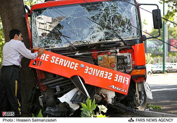 انواع تصادفات خودروهای آتش نشانی