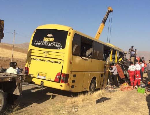 تصادف اتوبوس و پراید در محور ایلام به مهران