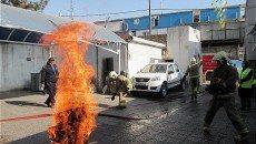 مانور مشترک آتش نشانان با نیروهای امدادی