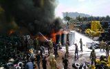 آتش سوزی در یک بارانداز در خیابان مشیریه
