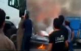 فیلم آتش سوزی یک دستگاه خودرو در جاده
