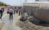 واژگونی مرگبار بونکر سیمان بر روی خودرو سواری پراید در بزرگراه فتح