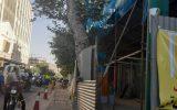 تخریب ساختمان سه طبقه در میدان فردوسی